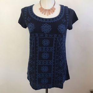 Lucky Brand Embroidered Short-Sleeve Top